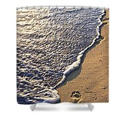 Tropical Beach With Footprints Shower Curtain