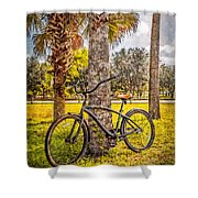 Tropical Bicycle Shower Curtain