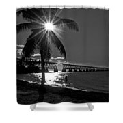 Tropical Bridge In Black And White Shower Curtain