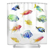 Tropical Fish Round Shower Curtain