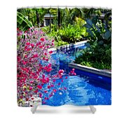 Tropical Garden Around Pool Shower Curtain
