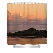 Tropical Island At Sunset Shower Curtain