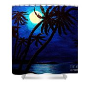 Tropical Moon On The Islands Shower Curtain