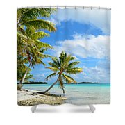 Tropical Beach With Hanging Palm Trees In The Pacific Shower Curtain