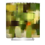 Tropical Shades - Green Abstract Art Shower Curtain