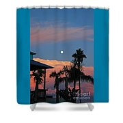 Tropical Sunset With The Moon Rise Shower Curtain