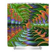 Tropical Swirls Layered Shower Curtain