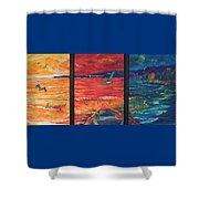 Tropical Trance Triptych Shower Curtain