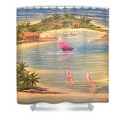 Tropical Windy Island Paradise Shower Curtain