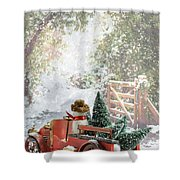 Truck Carrying Christmas Trees Shower Curtain