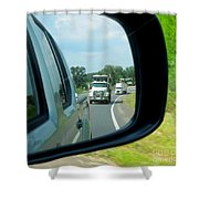 Trucks In Rear View Mirror Shower Curtain