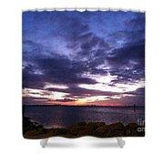 True Blue Sunset Shower Curtain