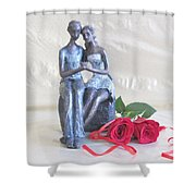 True Love In Silver Shower Curtain
