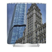 Trump And Wrigley Facades Shower Curtain