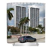 Trump Plaza In Downtown West Palm Beach Skyline Shower Curtain