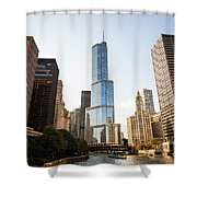 Trump Tower And Downtown Chicago Buildings Shower Curtain