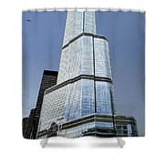 Trump Tower Facade 3 Letter Signage Shower Curtain