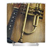 Trumpet And Banjo Shower Curtain