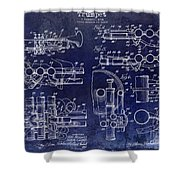 Trumpet Patent Drawing Blue Shower Curtain