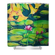 Trumpets And Lilies Shower Curtain