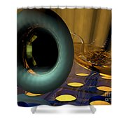 Tuba Goes Disco Shower Curtain