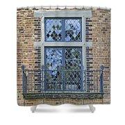 Tudor Style Windows With Balcony Shower Curtain