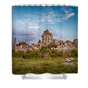 Tufa And Clouds Shower Curtain