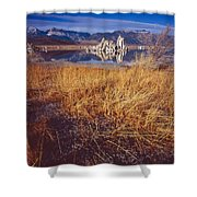 Tufa And Frozen Grass-sq Shower Curtain