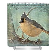 Tufted Titmouse With Verse IIi Shower Curtain