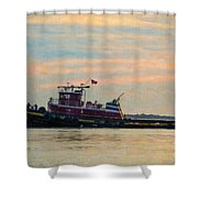 Tug Boat Hard At Work Shower Curtain
