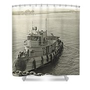 Tug Boat In Puerto Rico 1956 Shower Curtain