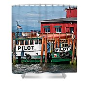 Tug Boat Pilot Docked On Waterfront Art Prints Shower Curtain