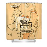 Tug Of War Shower Curtain by Cecil Charles Windsor Aldin