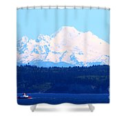 Tug With Mt Baker Shower Curtain