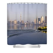 Tugboat And City Skyline, Toronto Shower Curtain