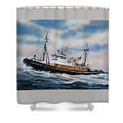 Tugboat Island Commander Shower Curtain