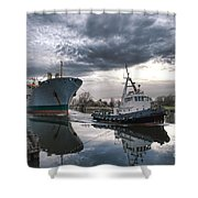 Tugboat Pulling A Cargo Ship Shower Curtain