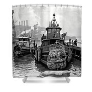 Tugboat Winter  1946 Shower Curtain