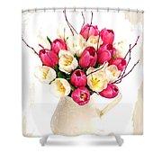 Tulip Blooms Shower Curtain by Debra  Miller