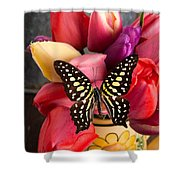 Tulips And Butterflies Shower Curtain