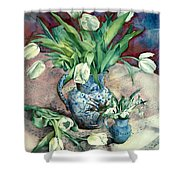 Tulips And Snowdrops Shower Curtain by Julia Rowntree