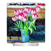 Tulips And Valentines Shower Curtain