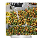 Tulips For Sale In Market, Close Up Shower Curtain