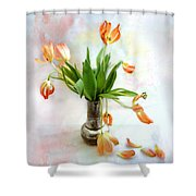 Tulips In An Old Silver Pitcher Shower Curtain