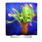 Tulips In The Blue Shower Curtain