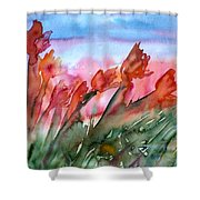 Tulips In The Wind Shower Curtain