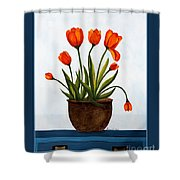 Tulips On A Blue Buffet With Borders Shower Curtain by Barbara Griffin