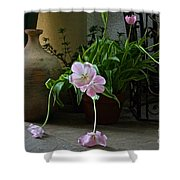 Tulips With Earthenware Jar And Wrought Iron Shower Curtain