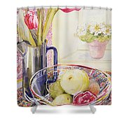 Tulips With Fruit In A Glass Bowl  Shower Curtain by Joan Thewsey