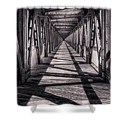 Tulsa Pedestrian Bridge In Black And White Shower Curtain by Tamyra Ayles